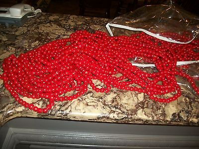 red wooden bead garland, vintage-over 3 lbs. of strands!  old. nice!