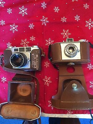 Vintage Kodak Pony 828 and Olympus 35-S E Zuiko 35mm Lens with Leather cases