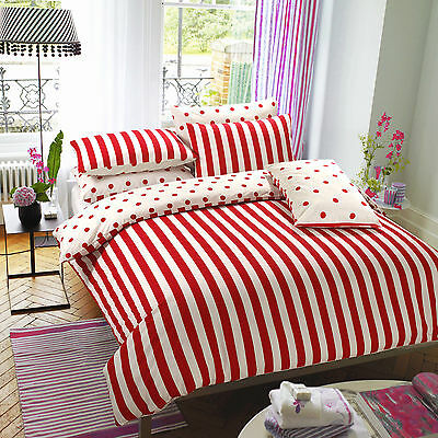 Printed Duvet Cover with Pillow Cases Bed Set Design Red Stripe Size Double