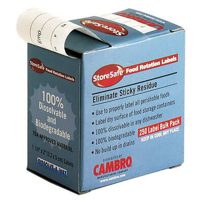 "Cambro (1252Slb250)  Dissolvable Labels 250/roll (1.5"" X 2"")"