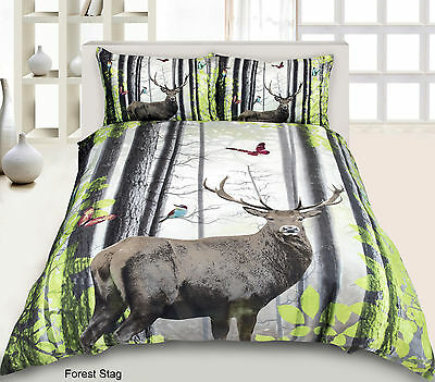 Luxurious3D-Effect-Bedding-Set-Duvet-Cover-with-Pillocases in Double Forest Stag