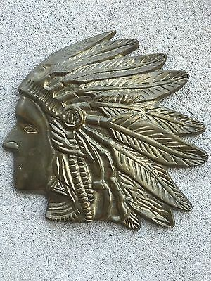 "Brass Indian Chief Head Wall Hanging 9"" wide X 8.5"" tall"