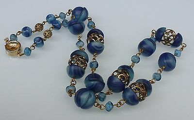 A Vintage Blue Bead And Gold Tone Necklace