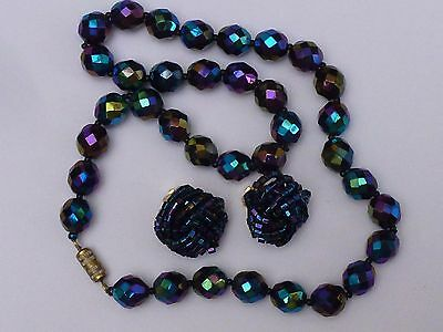 A Vintage Carnival Glass Bead Necklace  And Matching Clip On Earrings