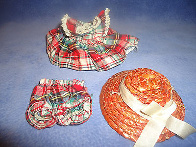 1950's Cosmopolitan Ginger Doll Clothes~RED PLAID TAGGED DRESS & BLOOMERS w/Hat