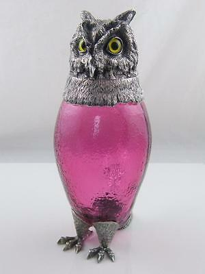 Silver Plate & Cranberry Glass Owl Decanter Glass Eyes