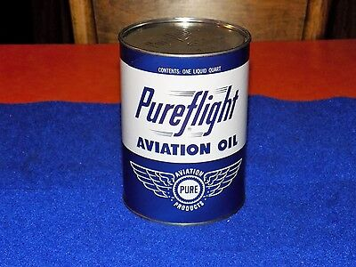 Vintage, PURE AVIATION OIL,composite 1qt oil can, dated 1962, (nos) and full