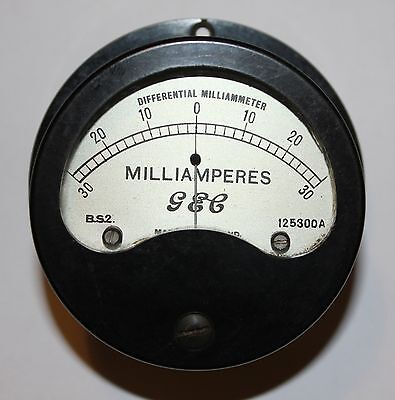 Vintage GEC Dual Range Moving Coil Meter, 30-0-30mA & 15-0-15mA, For GPO, GWO