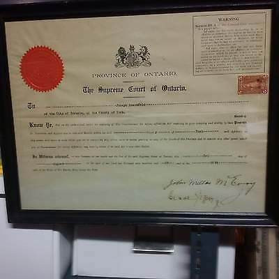 Supreme Court of Ontario 1929 Affidavits Document Signed and $5 Law Stamp Framed