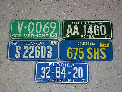 5 Vintage 1970 Us Mini License Plate Lot From Post Cereals