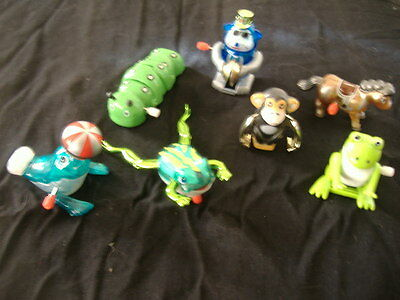 Lot of 7 Z Wind-up Toys  Frog, Monkey, Horse, Seal, Caterpillar