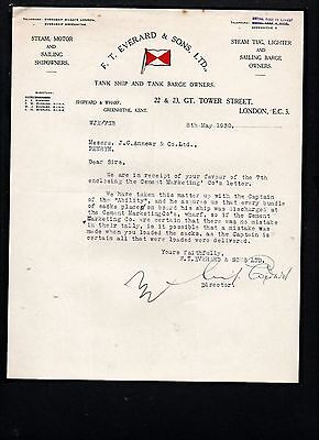 """EVERARD & SONS (LONDON) TANK SHIP & BARGE OWNERS  LOST SACKS on """"ABILITY"""" 1930"""