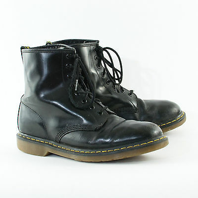 True Vintage 90's Dr Martens Laced Black Leather Boots Worn In UK 10 EU 44 US 11