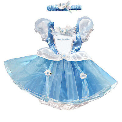 baby girl Disney Princess Cinderella fancy Dress Up  Costume Outfit 6 - 12 mths