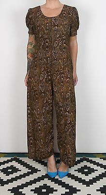Jumpsuit UK 12 Medium approx. 1980's Patterned 80's All in one Vintage (81G)