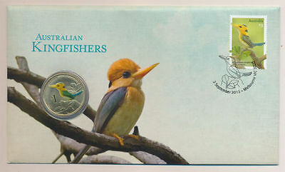 "2013 Australia $1 Dollar ""Australian Kingfisher"" Coin & PNC Stamps UNCirculated"
