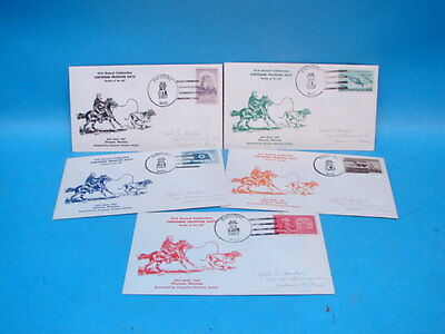 Cheyenne Wyoming Frontier Days 1st Day Cover Collection x 5 1957 Cowboy Western