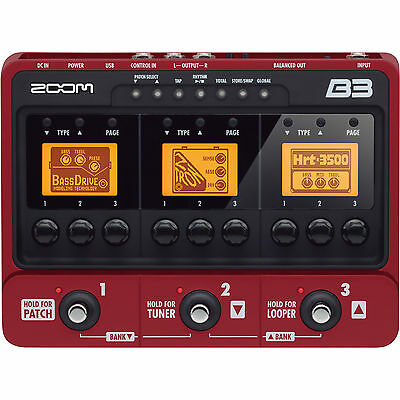 Zoom B3 Bass Guitar Multi Effects and Amp Simulator Pedal FREE NEXT DAY SHIPPING