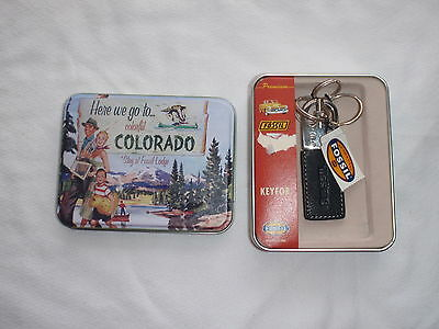 Fossil  Key Fob   Black Leather In Colorful Colorado  Tin