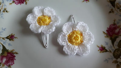 Handmade crochet daisy flower baby hair clip sleepies slides toddler slides girl