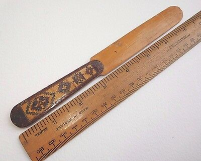 Antique Tunbridge Ware letter opener/small page turner geometric patterns 27 cm
