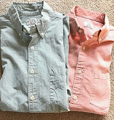J.Crew Lot of 2 Casual Button Front Shirts Men's Small Micro Checks