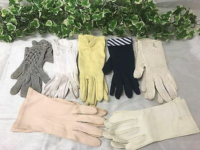 Job Lot Of Seven Ladies Vintage Mixed Material Gloves