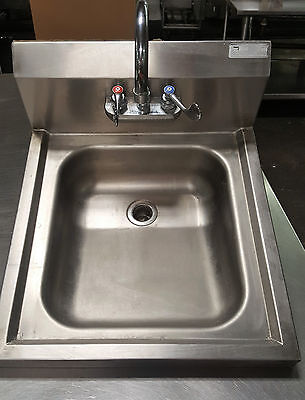 John Boos Stainless Steel Commercial Hand Sink Wall Mount PBHS-W-1416ADAS