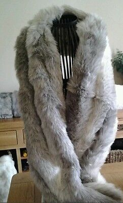 Britta Collection Grey Fur Shrug Mother Of The Bride Shawl Stole Faux Fur Wrap