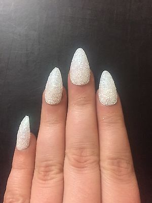Hand Painted Clear With White Glitter Nail Topper Full False Cover False Nails