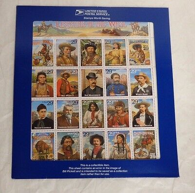 USPS Legends of the West Error Sheet Sealed in Original Folder (B6)