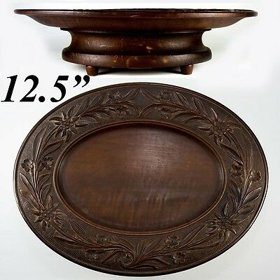 """Antique Black Forest Carved 12.5"""" Oval Raised Centerpiece, Fruit Tray, Musical"""