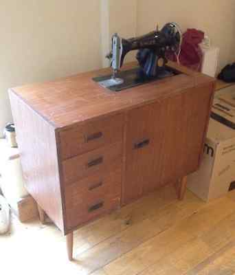 SINGER Wooden SEWING Machine TABLE Storage  UPCYCLE Vintage  west sussex