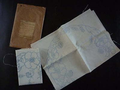 Pure Irish linen embroidery transfer dressing table mats and runner vintage