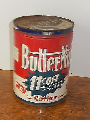 Vintage Butter-Nut Coffee Can Butter Nut ~ Nice Bright Graphics 6.75 inches Tall