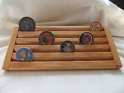 Military Challenge/Coin/Chips Wood Display Holder 5 Tier-- Maple Stained
