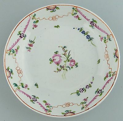 Antique English Porcelain : 18thC hand painted New Hall Saucer - C.1790