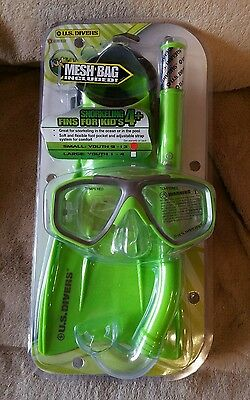US Divers Kids Snorkeling Kit New Green Children's Diving Goggle Fins Pool Water