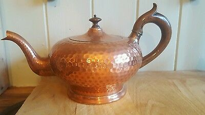 Lined Copper teapot kettle old vintage collectable with wood handle & strainer