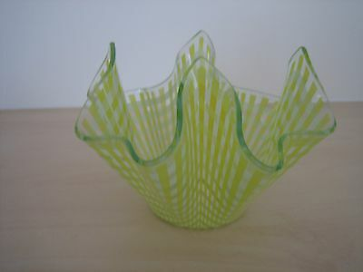 Retro Chance Glass Gingham Handkerchief Vase - Yellow White and Clear