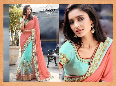 Indian Women Designer Wedding Georgette Saree Pakistani Party Wear Sari 2