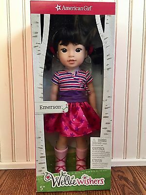 American Girl WELLIE WISHERS EMERSON DOLL NEW Black Hair Brown Eyes SHIPS FAST!!