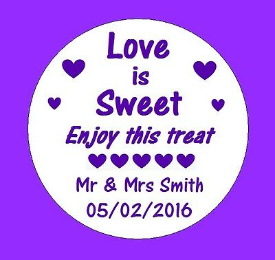 105 Personalised Round Wedding Stickers/Labels Envelopes Seals Heart Ring..