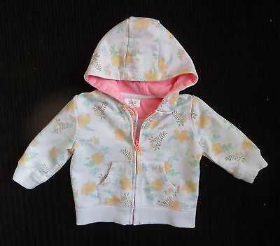 Baby clothes GIRL 3-6m F&F white,yellow,aqua zip floral hood sweatshirt jacket