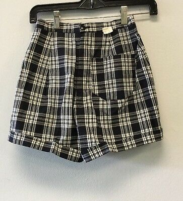 Two Pair Of Vintage Womens Shorts Black , White Plaid Size 11 Purple Size 12