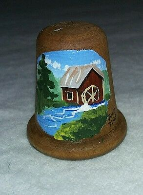 Hand Painted Wooden Thimble Signed by Janet Pitts
