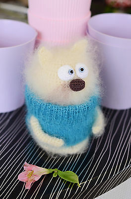 Beautiful Cute Cat Blue Sweater Hand Knitted Woollen Doll Toy Great Gift