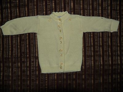 Vintage Infant May Knit Butter Yellow Cardigan Sweater
