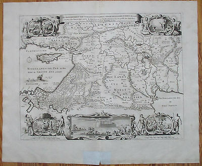 Stoopendaal Keur Largre Decorative Map Paradise Holy Land Canaan Babylon - 1720