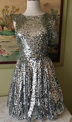 TRIXXI FOR NORDSTROM'S Silver Sequin FORMAL PROM DRESS SZ 7 PERFECT Junior
